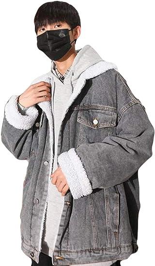 デニムジャケット メンズ 長袖 ブルゾン デニム 厚手 中綿ジャケット カジュアル 裏起毛 防寒着 シンプル ムートンブルゾン ゆったり あったか ボアコート