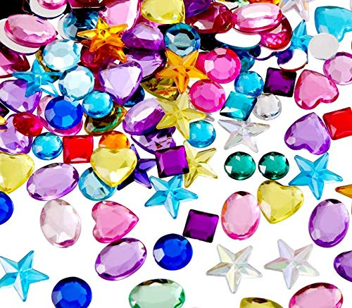 130pack Self Adhesive Rhinestones for Arts and Crafts Jewels Kids DIY Jumbo Bling Gems Stickers Assorted Shapes Rhinestone Stickers for Arts & Crafts Projects8mm-20mm with Glue Sticker in platbac