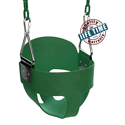 ANCHEER Toddler Swing Seat High Back Full Bucket Swing Seat with 60-inch Coated Chain and Two Snap Hooks –Swing Set Accessories (Green): Toys & Games