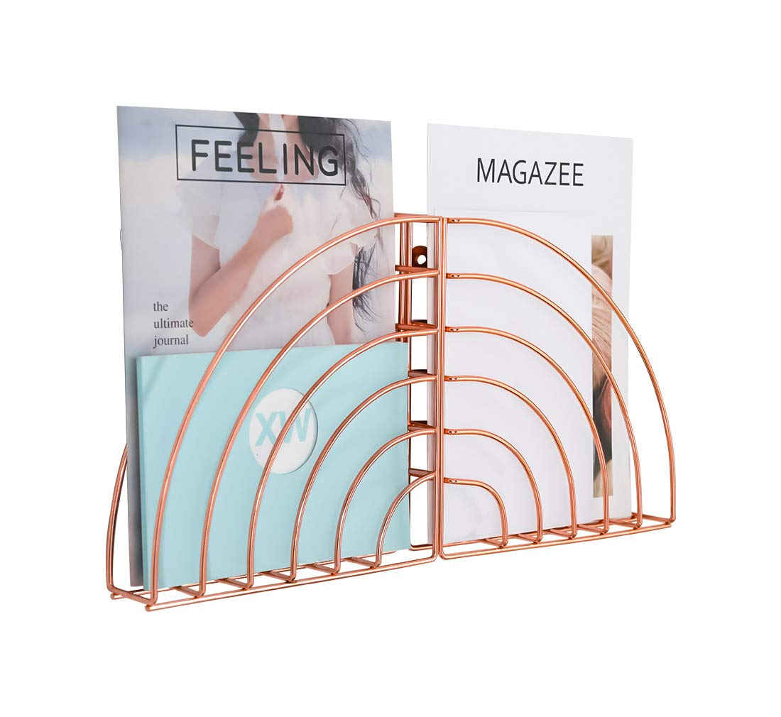 PAG 2 Packs Hanging File Holder Organizer Wall Mount Magazine Rack, Rose Gold
