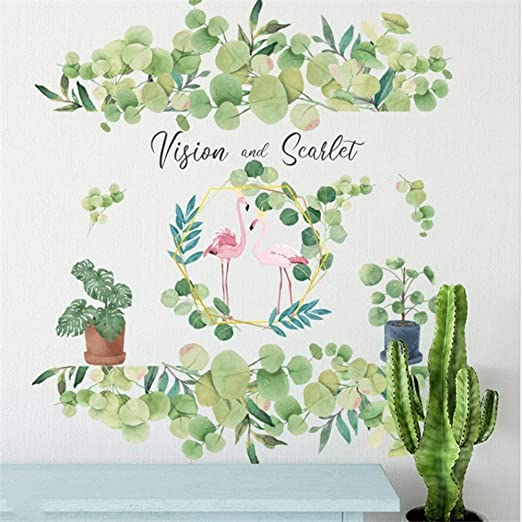 Amazon.com: Bdhnmx Wall Sticker Hand Painted Green Leaf Plant Orchid Modern Style Living Room Decoration Bedroom Background Nordic Mural Art Poster: Baby