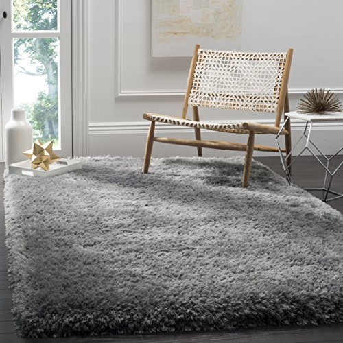 Handmade Polyester Rug - Safavieh Luxe Shag Collection SGX160C Handmade Grey Polyester Area Rug (5' x 8')