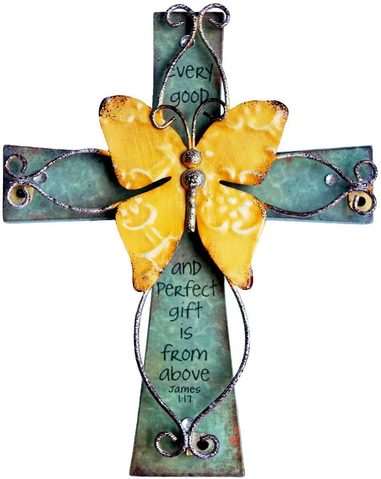 Unique Wooden Crucifix With Antiqued Metal Decorative Butterfly And Inspirational Prayer Inscribed On Cross