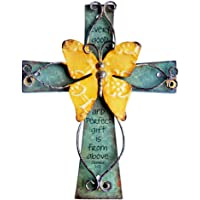 Sell4Style Unique Wooden Crucifix with Antiqued Metal Decorative Butterfly and Inspirational Prayer Inscribed On Cross