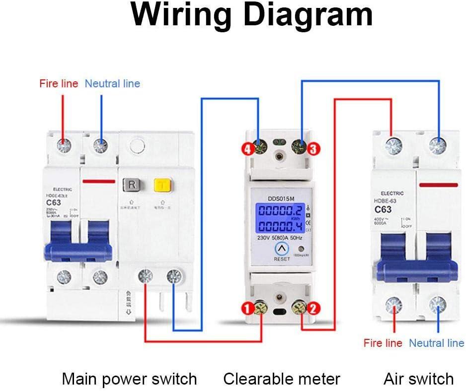 Din Rail Digital Single Phase Reset Zero Energy Meter kWh Voltage Current Power