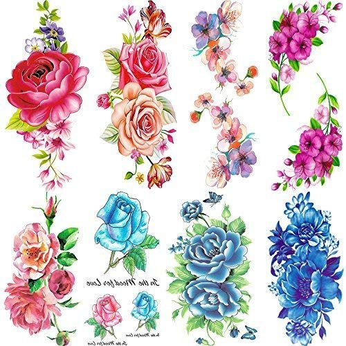 Flowers Temporary Tattoos for Women Sexy 8 Pcs by Qufan,LargeTattoo Sticker Fake Tattoos for Kids Girls Teens,Waterproof and Long Lasting Sexy Body Tattoos -Rose, Peach, Peony Flower,Blue Rose