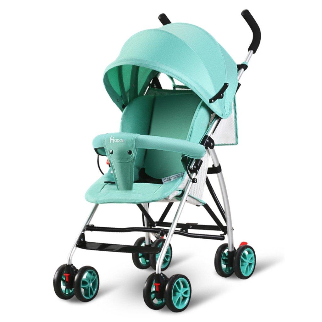 HAIZHEN マウンテンバイク ベビーカート軽量Foldableはショッピングバスケットで座ることができますアルミ合金の日よけ日焼け止めベビーキャリッジ94 * 57 * 44センチメートル 新生児 B07DL9Z4BN 緑 緑