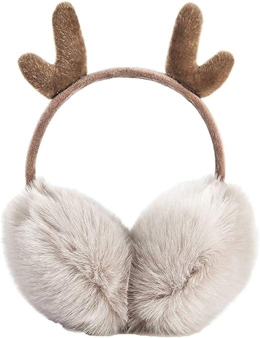 BESPORTBLE 2pcs Reindeer Antlers Earmuff Girls Cozy Furry Fur Winter Ear Warmers Santa Claus Earflap Plush Warm Ear Covers Running Cycling Snow Ear Muffs Headband