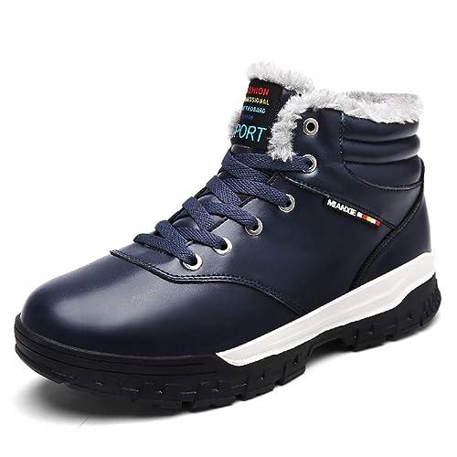 Hombres Senderismo Botas de Piel para Hombre Zapatos de Trekking de Nieve cálida Acampar al Aire Libre High Top Turismo Zapatos Antideslizantes para ...