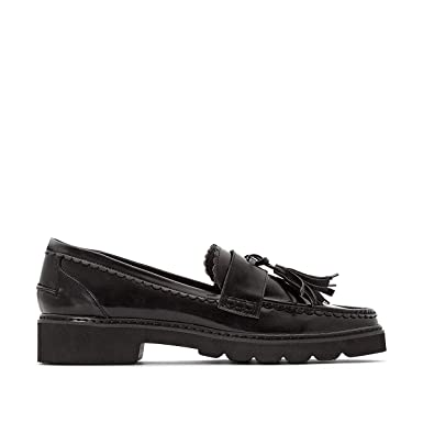 4bca9d04516 La Redoute Collections Womens Wedge Loafers With Tassel Trim Black Size 36