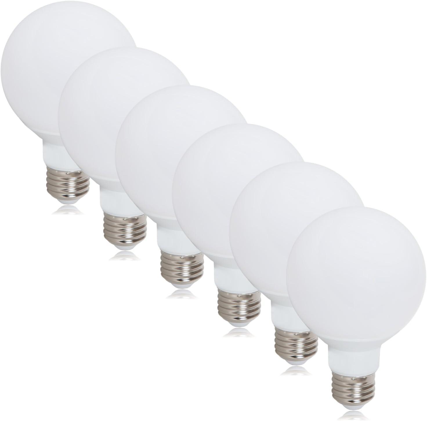 Maxxima G25 LED Light Bulb, 40 Watt Equivalent, 450 Lumens 4000K Neutral White Globe Light (6 Pack)