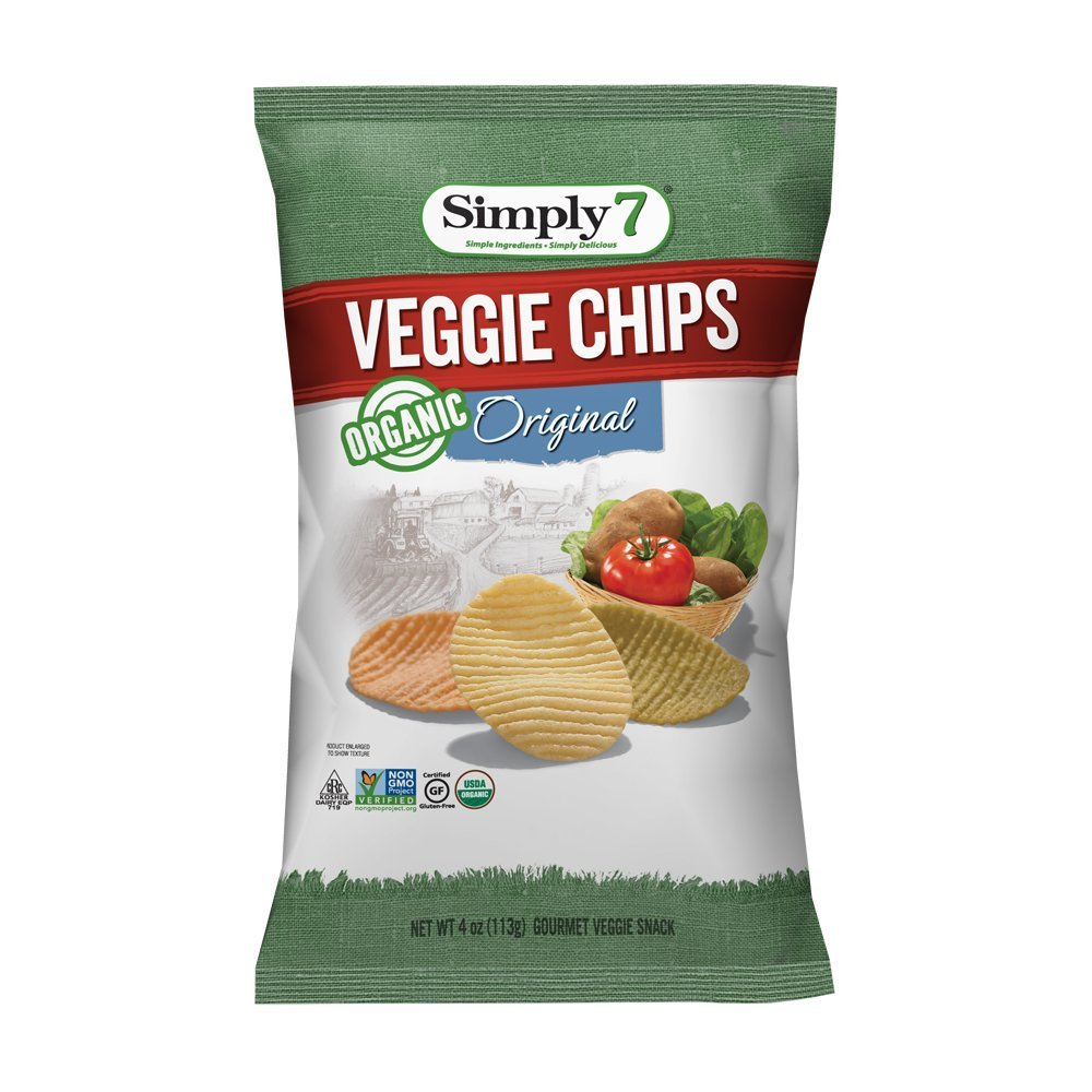 Simply7 Gluten Free Organic Veggie Chips, Original, 4 Ounce (Pack of 12) by Simply 7