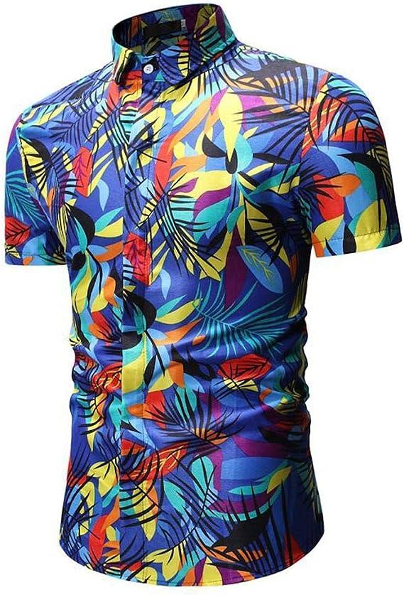 Camisas Hombre Flores 2019 Nuevo SHOBDW Camisetas Hombre Manga Corta Cuello Mao Casual Slim Fit Blusa Tops Playa de Verano Bohemia Hawaii Tallas Grandes M-3XL: Amazon.es: Ropa y accesorios