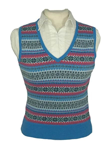 1920s Blouses & Shirts History Ladies Cashmere Fair Isle Slipover Tanktop $199.00 AT vintagedancer.com
