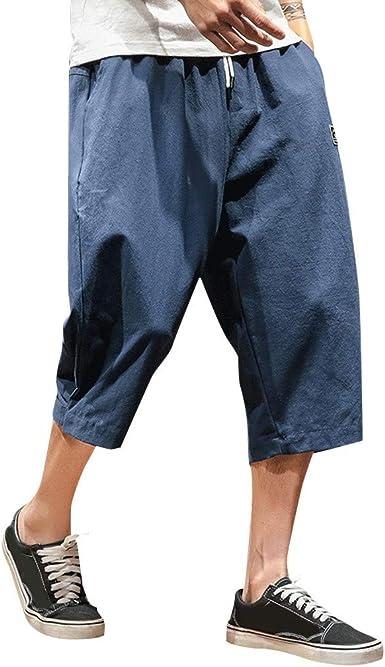 CAOQAO Pantalones Cortos Hombre Verano Puro Color algodón cáñamo Pantalones Moda cómoda: Amazon.es: Ropa y accesorios