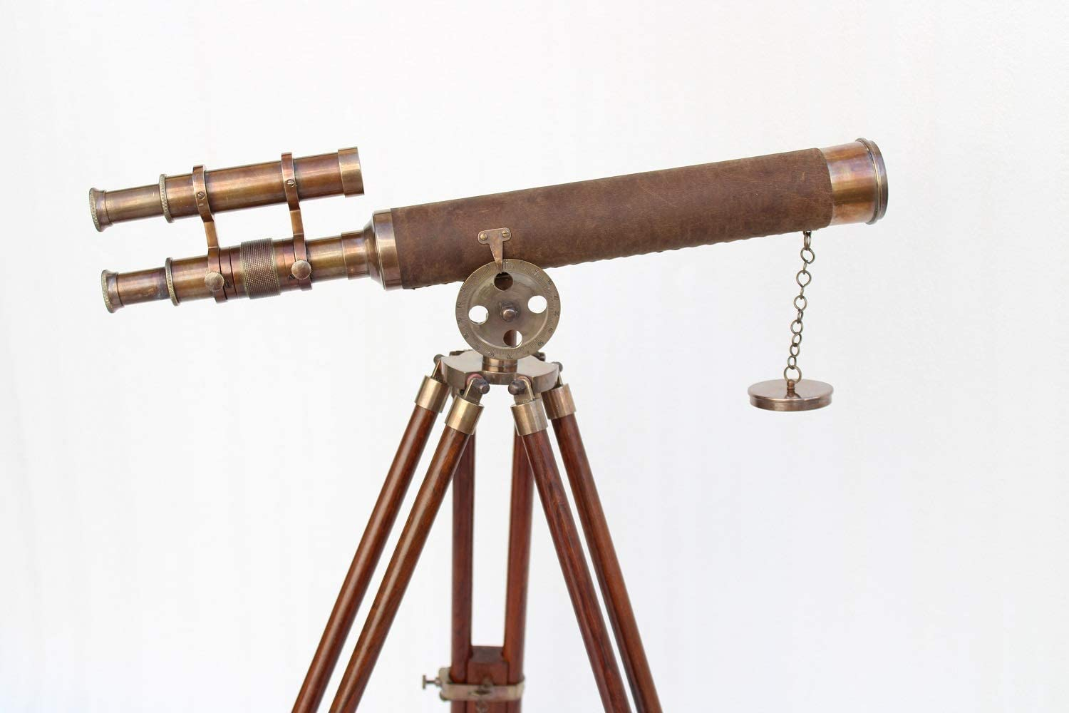 """Vintage Victorian Nautical Marine Solid Brass Ship Telescope 18/"""" With Wooden Box"""