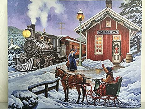 Osw Train Station Picture On Canvas W Led Lights Wall Art Christmas Decor Wall Art