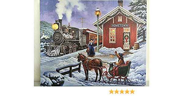 Amazon Com Osw Train Station Picture On Canvas W Led Lights Wall Art Christmas Decor Wall Art