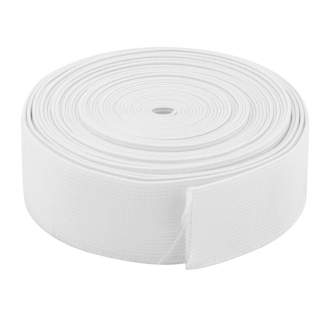 sourcing map Sartoria poliestere cucitura DIY gommoso elastico intrecciato banda bianca corda 6 metri