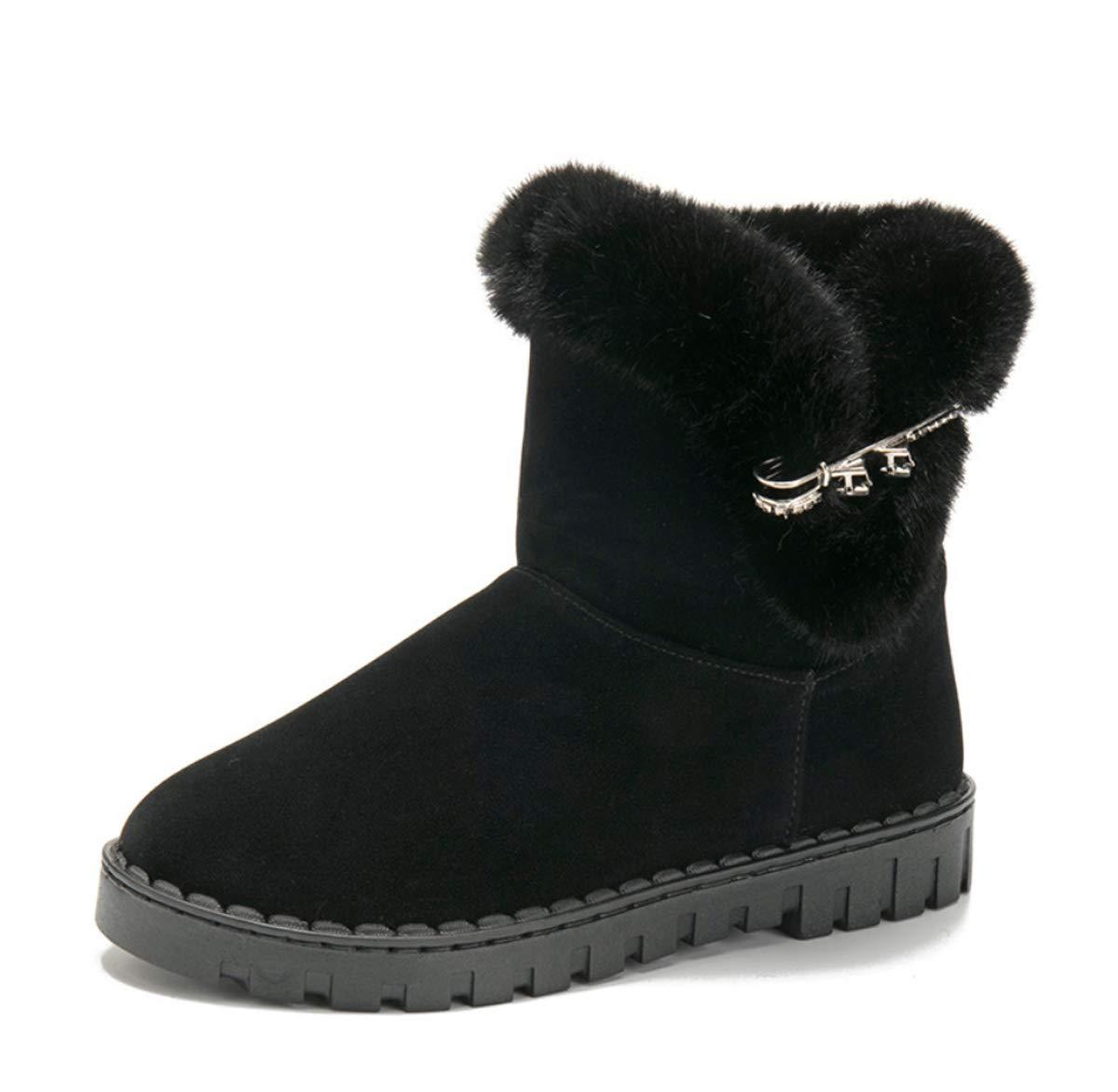 DANDANJIE Girls Stiefel Winter Warm Warm Warm Snow Stiefel damen Flat Heel Ankle Stiefel Fashion Casual schuhe (schwarz grau) 464973