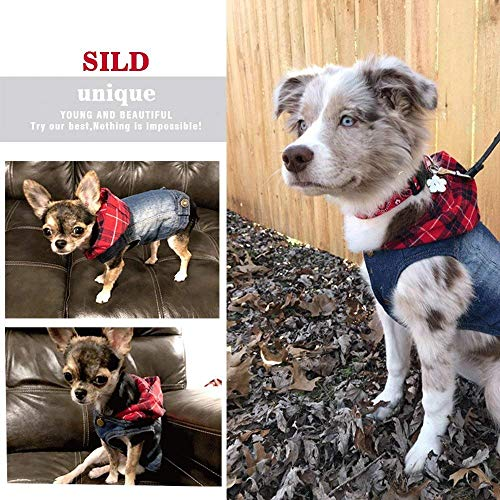 SILD Pet Clothes Dog Jeans Jacket Cool Blue Denim Coat Small Medium Dogs Lapel Vests Classic Hoodies Puppy Blue Vintage Washed Clothes (Plaid Hat,M)