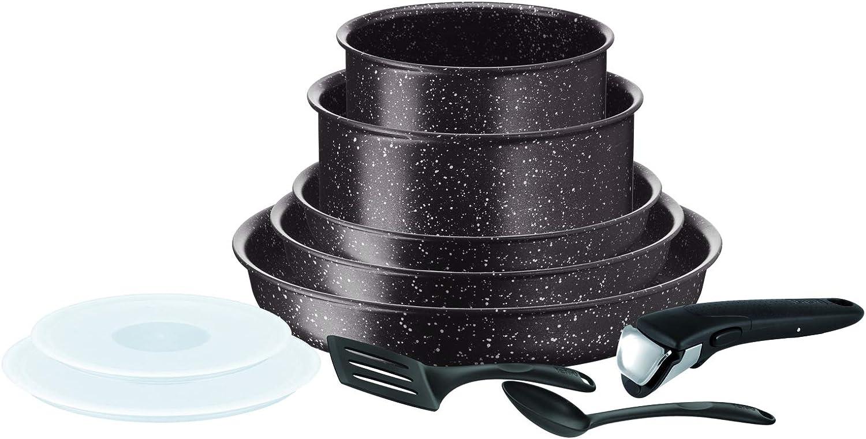 Tefal INGENIO EXTREME - Batería de cocina con efecto piedra, antiadherente, para inducción, sartenes, cacerolas, tapas herméticas, mango espátulas, color marrón L6789302
