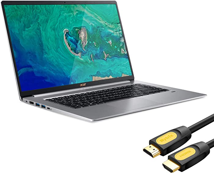 """Acer Swift 5 SF515 Touchscreen Laptop, 15.6"""" IPS FHD Thin and Light PC, Core i7 up to 4.60 GHz, 16GB RAM, 512GB PCIe SSD, Backlit KB, FP Reader, USB-C/DP, HDMI, Mytrix HDMI Cable, Win 10"""