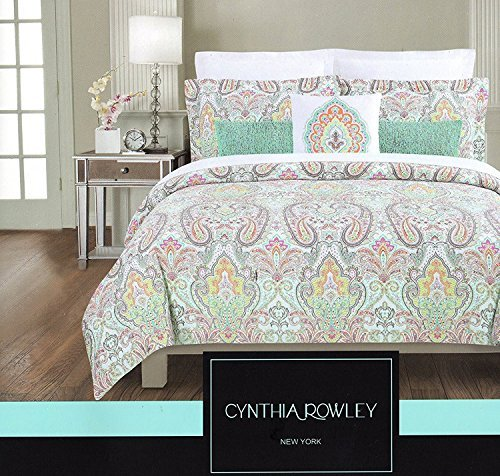 Cynthia Rowley Full Queen Duvet Cover Set Large Floral Paisley Medallion Turquoise Pink Navy Coral Green (Queen) (Paisley Turquoise)