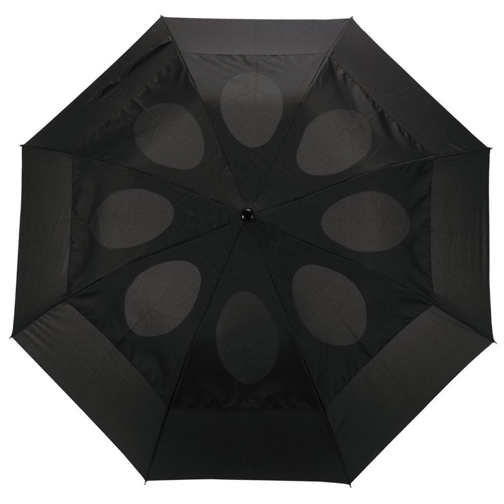 83f79e7e2ff7 Windproof Umbrella Wind Resistant Folding Double Vented Rain Canopy with  Strong Open Close (Black)