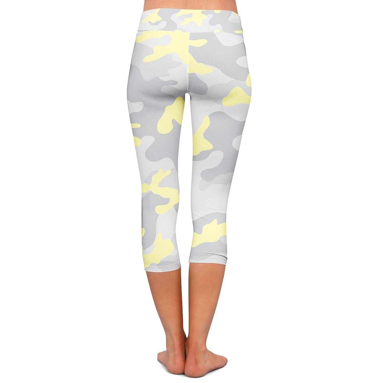 Low Waist Colored Camouflage Yoga Leggings Capri 3//4 Length