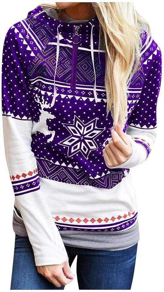 Axchongery Women Christmas Printed Hoodie Long Sleeve Pullover Sweatshirt Casual Hooded Top