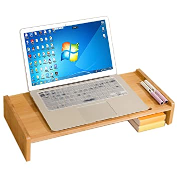 KKCD Soporte De Monitor De Bambú Elevador Portátil Ordenador ...