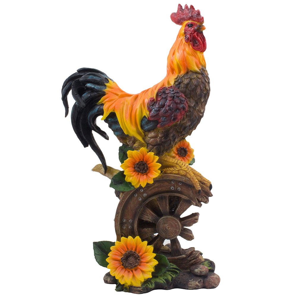 Classic Proud Rooster Statue on Old-fashioned Wagon Wheel with Sunflower Accents for Rustic Country Kitchen Decor Sculptures As Farm Animal Gifts for Farmers by Home 'n Gifts