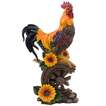 Classic Proud Rooster Statue On Old Fashioned Wagon Wheel With Sunflower  Accents For Rustic Country