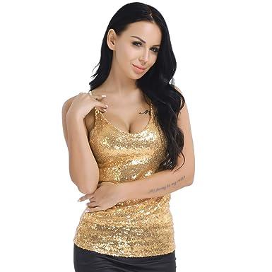 9998223fcc4ca9 TiaoBug Womens Deep V Neck Shiny Sequin Spaghetti Strap Crop Camisole Tank  Top: Amazon.co.uk: Clothing