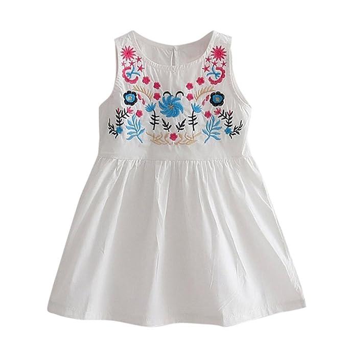 Vestido Niña, K-youth® Lindo Floral Bordado Vestido Sin Mangas Casual Princesa Vestir