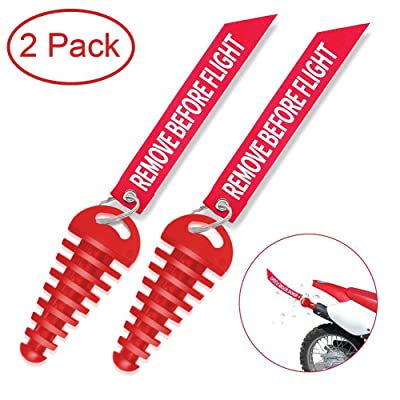 "MELIFE Red 0.6""-1.5"" Muffler Exhaust Wash Plug, Motorcycle Dirt Bike 2 Stroke w/Streamer Remove Before Flight ATV Quad Rubber Exhaust Silencer -2 Pack: Automotive"