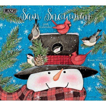 """LANG - 2018 Wall Calendar - """"Sam Snowman"""", Artwork by Susan Winget - 12 Month - Open 13 3/8"""" X 24"""""""