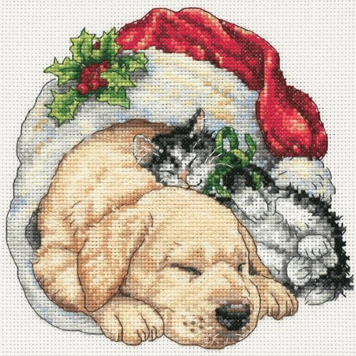 Dimensions Gold Collection Counted Cross Stitch Kit, Christmas Morning Pets, 18 Count White Aida, 6'' x - White 18k Cross