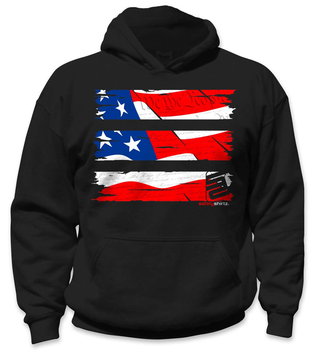 SafetyShirtz Youth Old Glory Hoodie Black/Red L