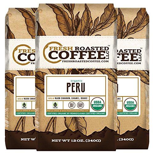 Organic Peru Sol y Café Fair Trade Coffee, 12 oz. Ground Bags, Fresh Roasted Coffee LLC. (3 Pack)