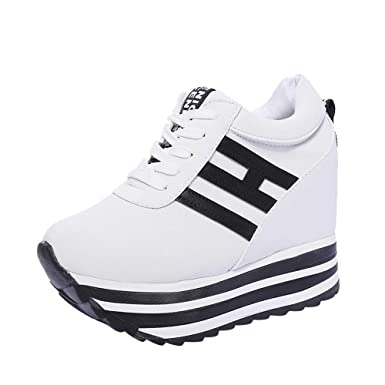 timeless design e18ab 9b072 Dragon868 Sneakers Donna con Zeppa Stivali Plateau Moda Scarpe Ragazza  Scarpe Tacchi Alti Ginnastica con Lacci Scarpe Comode per Camminare Casual