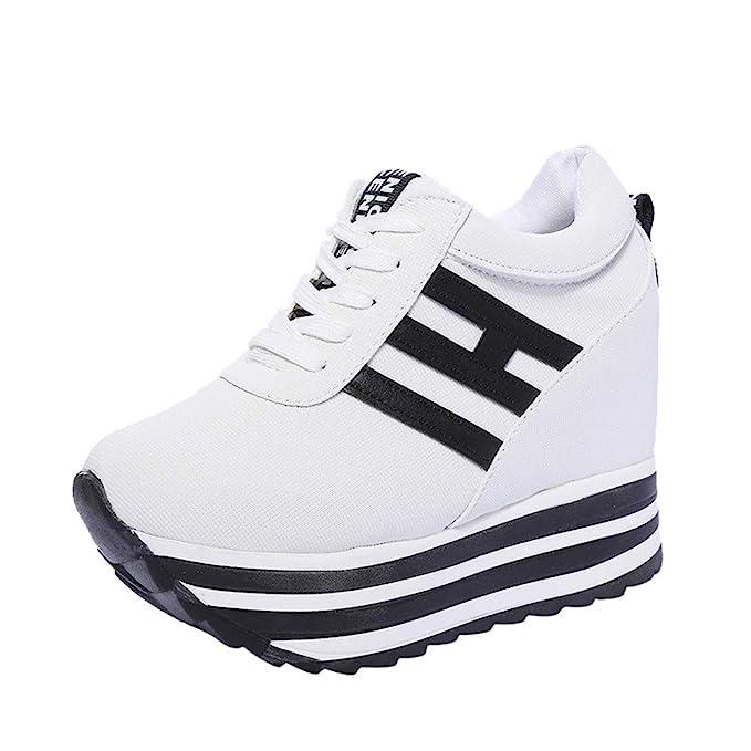 timeless design c1179 317a9 Dragon868 Sneakers Donna con Zeppa Stivali Plateau Moda Scarpe Ragazza  Scarpe Tacchi Alti Ginnastica con Lacci Scarpe Comode per Camminare Casual