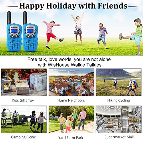 WisHouse Walkie Talkies for Kids,Fashion Toys for Boys and Girls Best Handheld Two Way Radio with Flashlight for 4 Year Old and up to Camping Hiking Riding and Cruise Ship(T388 Blue 4 Pack) by Wishouse (Image #1)
