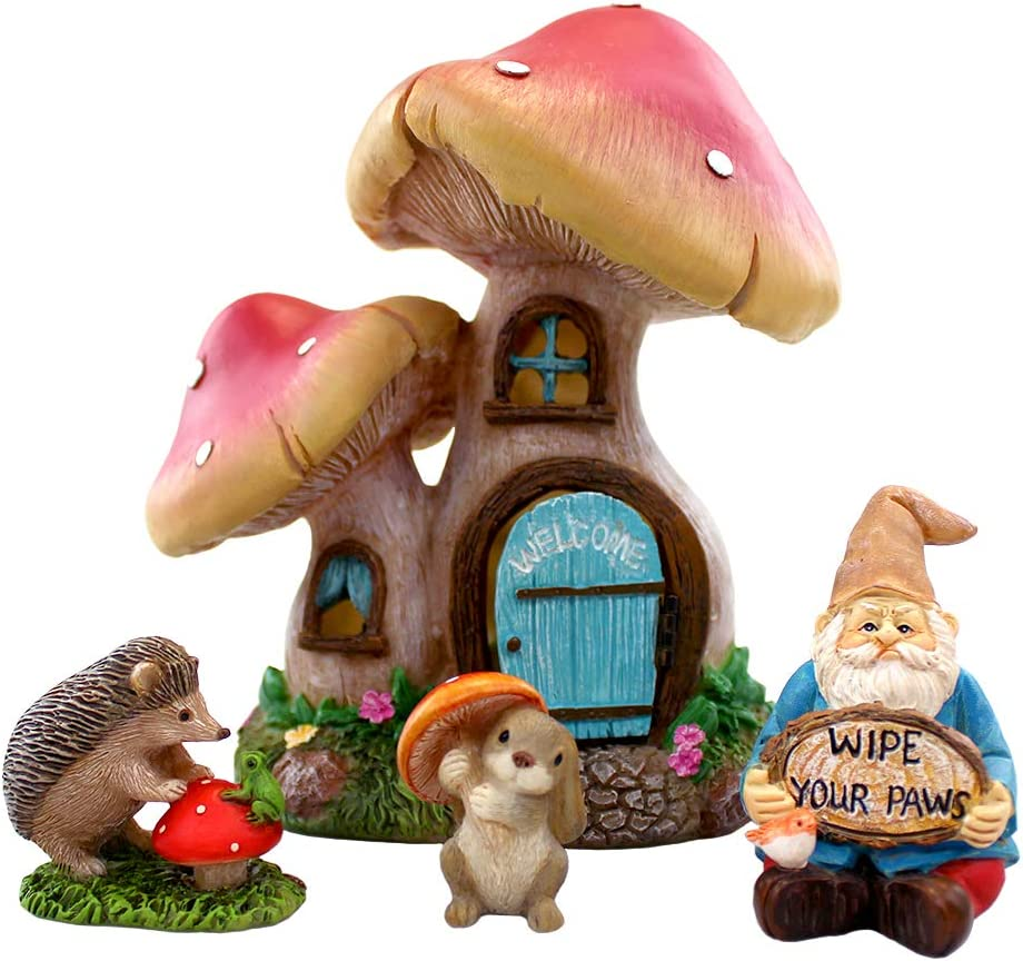 NW Wholesaler Little Critters Gnome House Kit - Miniature Fairy Garden Set with Gnome, Bunny Rabbit, Hedgehog, and Toadstool Mushroom House with LED Lights