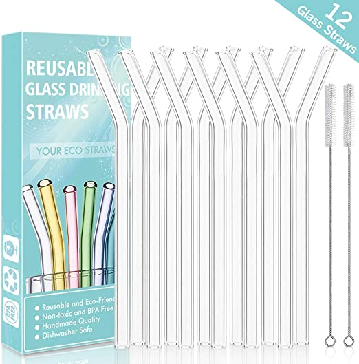 Non-Toxic Reusable Glass Straws With Cleaning Brush New Bpa-free