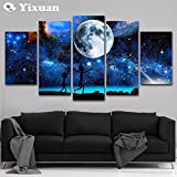 [LARGE] Premium Quality Canvas Printed Wall Art Poster 5 Pieces / 5 Pannel Wall Decor starry sky Rick and Morty Painting, Home Decor Pictures - With Wooden Frame