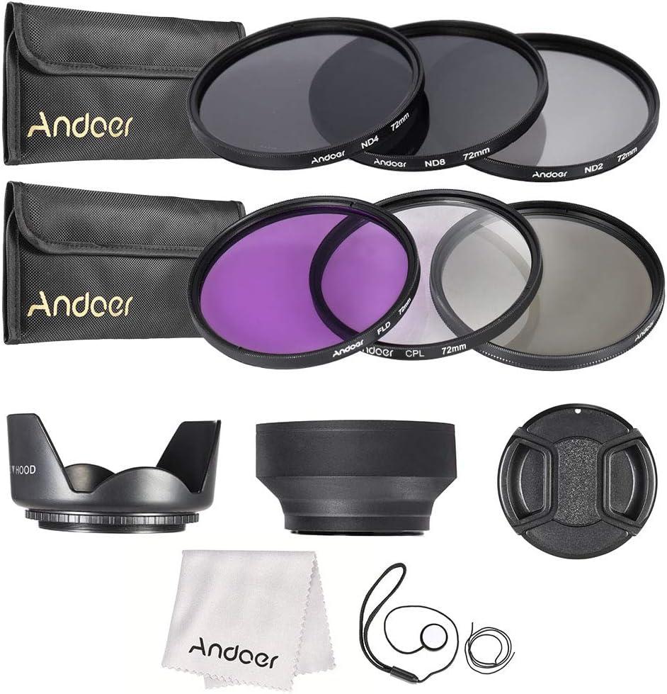 مجموعة فلتر عدسة 72 مم UV+CPL+FLD+ND(ND2 ND4 ND8) مع جراب حمل/ غطاء عدسة/ حامل غطاء عدسات توليب وأغطية عدسات مطاطية / قطعة قماش للتنظيف