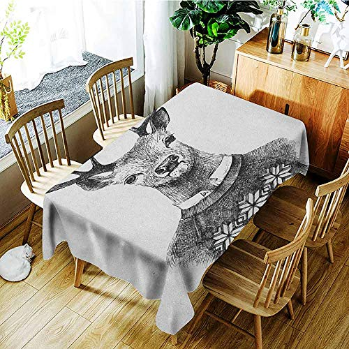 XXANS Elastic Tablecloth Rectangular,Indie,Hand Drawn Deer Portrait in a Nordic Style Knitted Sweater Hipster Christmas,Modern Minimalist,W60X102L Charcoal Grey White
