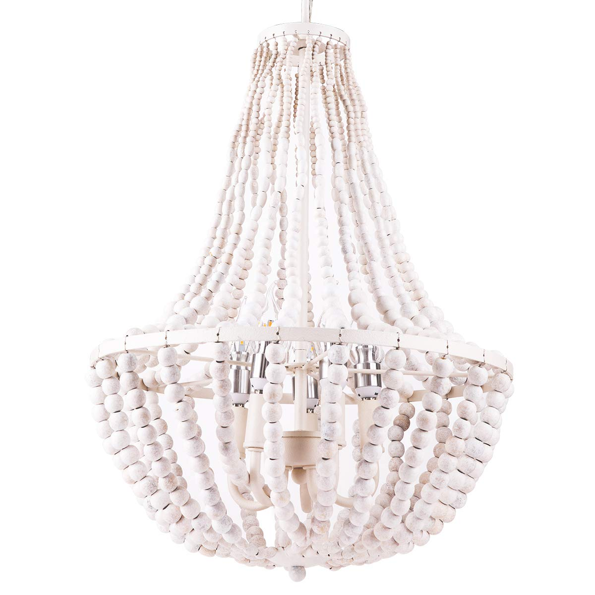 Beaded Chandelier, Morden Fort White Beaded Chandelier 5 Lights for Living Room/Bed Room/Dining Room
